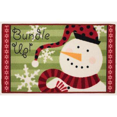 Bundle Up Snowman 18 in. x 30 in. Printed Holiday Mat