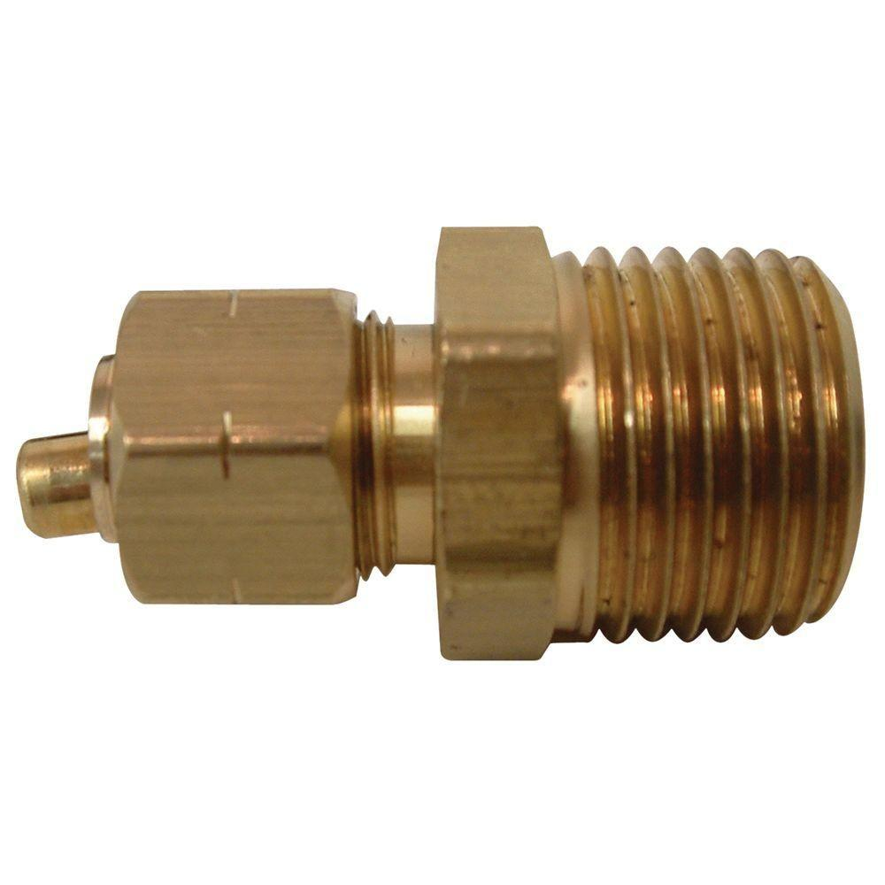 Everbilt 3/8 in. x 1/2 in. MIP Lead-Free Brass Compression Adapter Fittings (2-Pack)