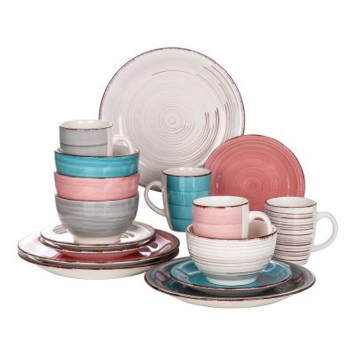 Series Bella 16-Pieces Dinnerware Set Porcelain Crockery in vintage look Combination Sets Colorful (Service for 4)