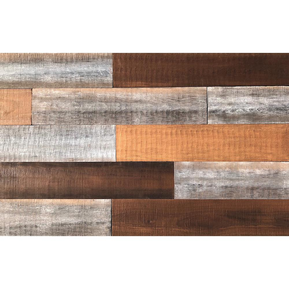 Easy Planking 1/4 in. x 5 in. x 2 ft. Brown Reclaimed Smart Paneling 3D Barn Wood Wall Plank (Design 1) (12-Case)