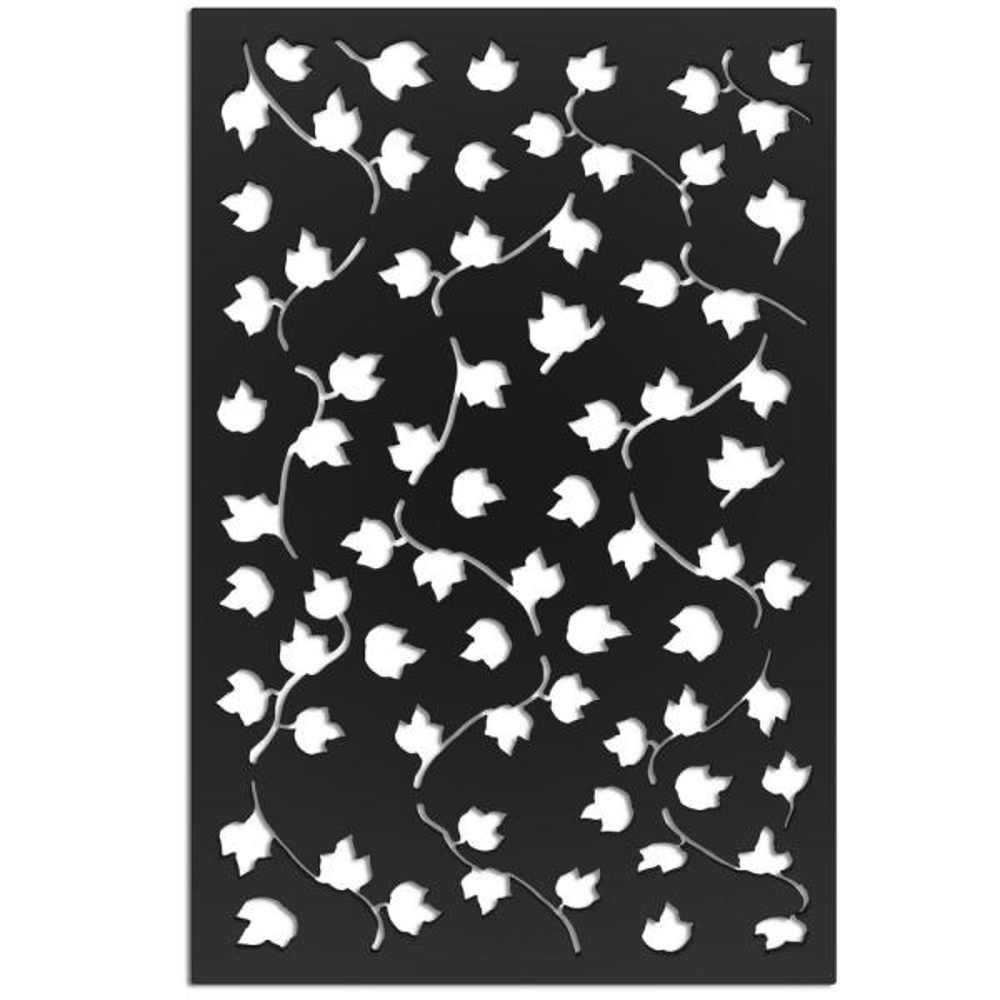 Vines 32 in. x 4 ft. Black Vinyl Decorative Screen Panel