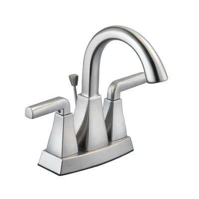 Brookglen 4 in. Centerset 2-Handle High-Arc Bathroom Faucet in Brushed Nickel