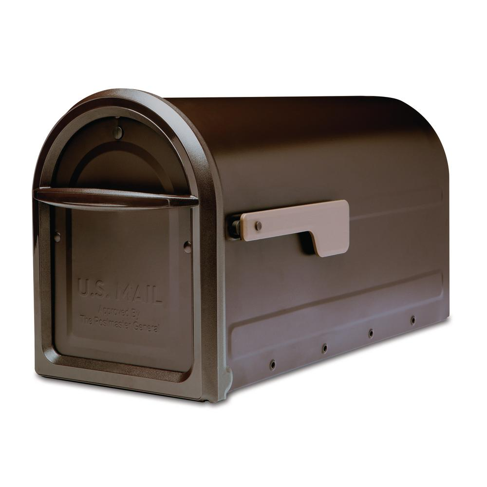 Mapleton Post Mount Mailbox Rubbed Bronze with Premium Champagne Flag