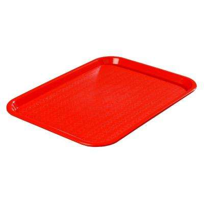 10.75 in. x 13.87 in. Polypropylene Cafeteria/Food Court Serving Tray in Red (Case of 24)