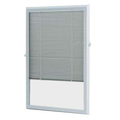 White Cordless Add On Enclosed Aluminum Blinds with 1/2 in. Slats, for 22 in. Wide x 36 in. Length Door Windows