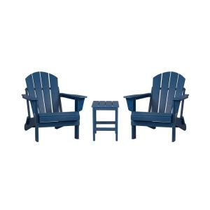 Luna Outdoor Poly Adirondack Chair Set with Side Table in Navy Blue (3-Piece)