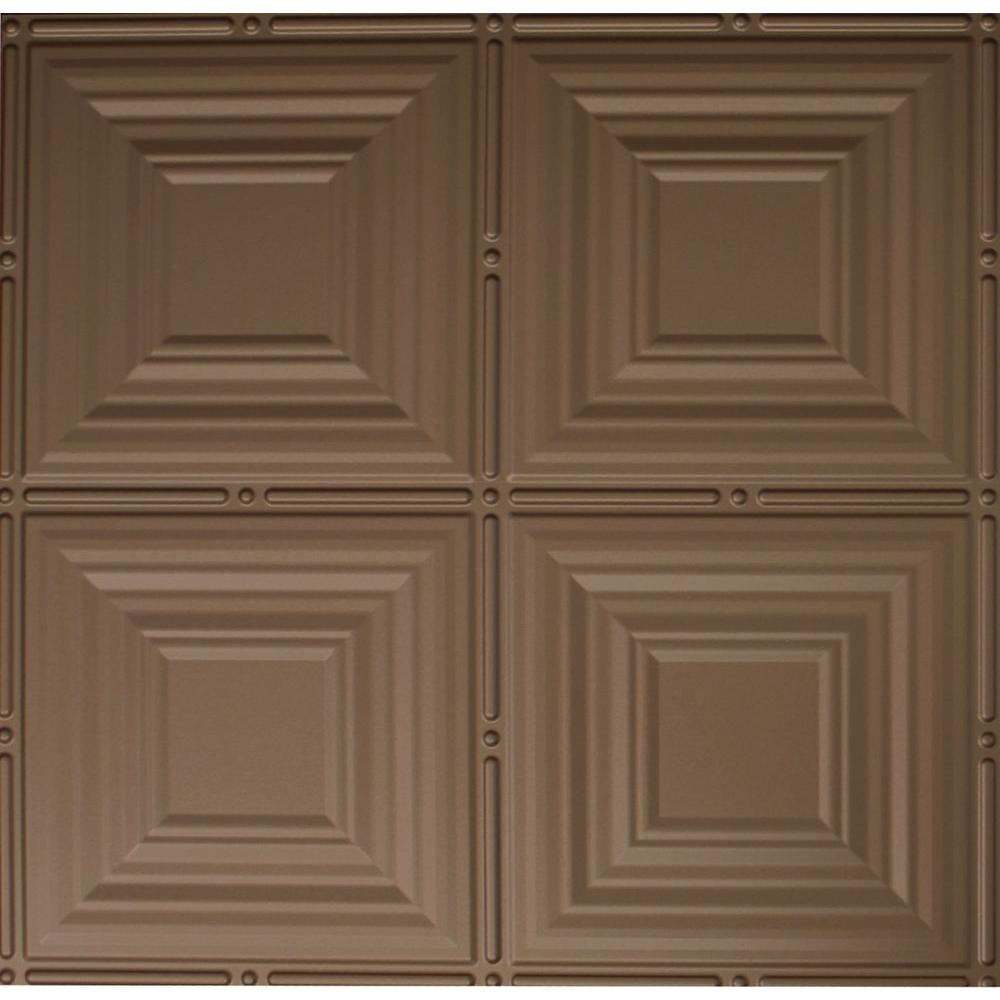 Dimensions 2 ft. x 2 ft. Bronze Lay-in Tin Ceiling Tile