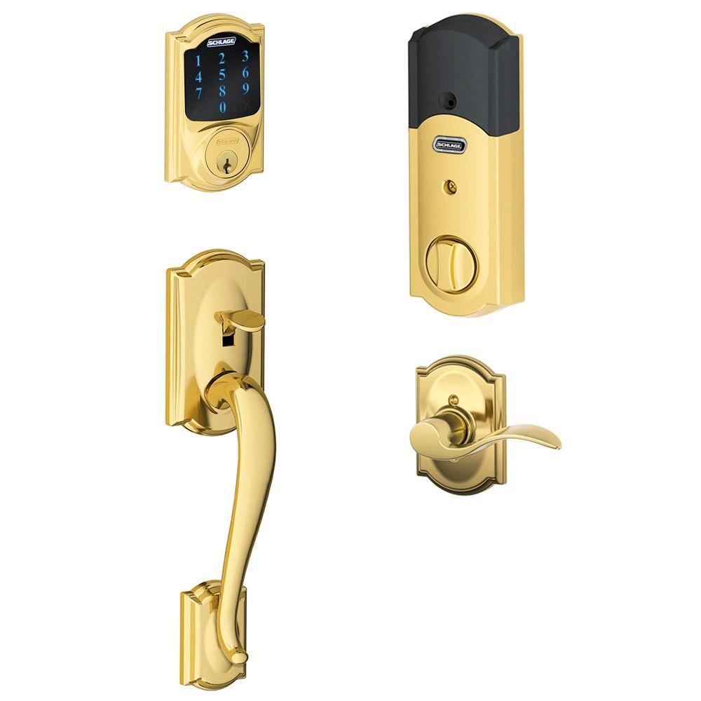 Schlage Camelot Bright Brass Connect Smart Lock With Alarm
