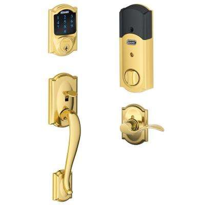 Camelot Bright Brass Connect Smart Lock with Alarm and Right Handed Accent Lever Handleset