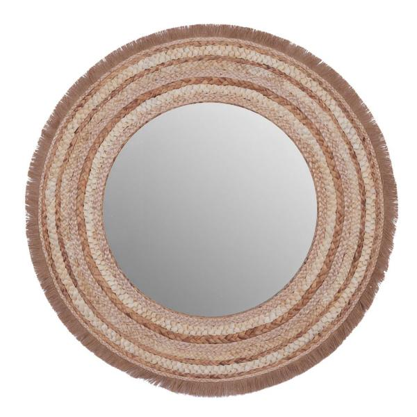 Large Round Wood and Wicker Beige Wall Mirror 38 in. D