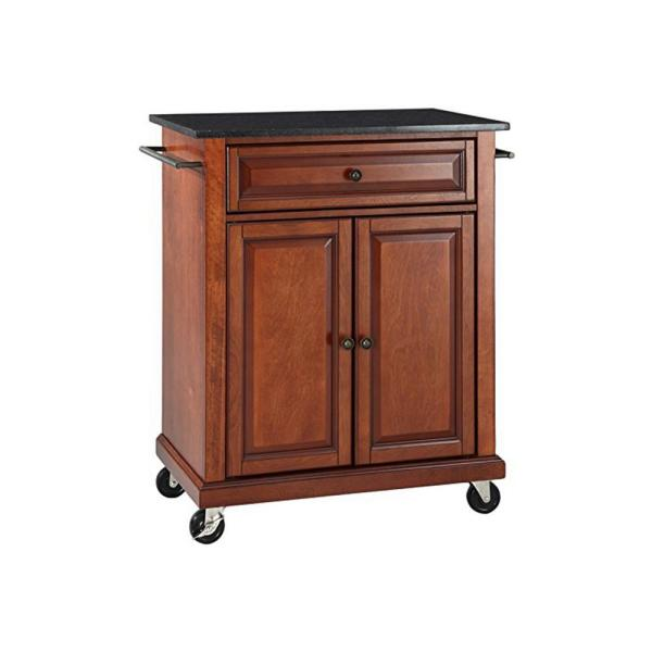 Crosley Cherry Kitchen Cart With Black Granite Top KF30024ECH
