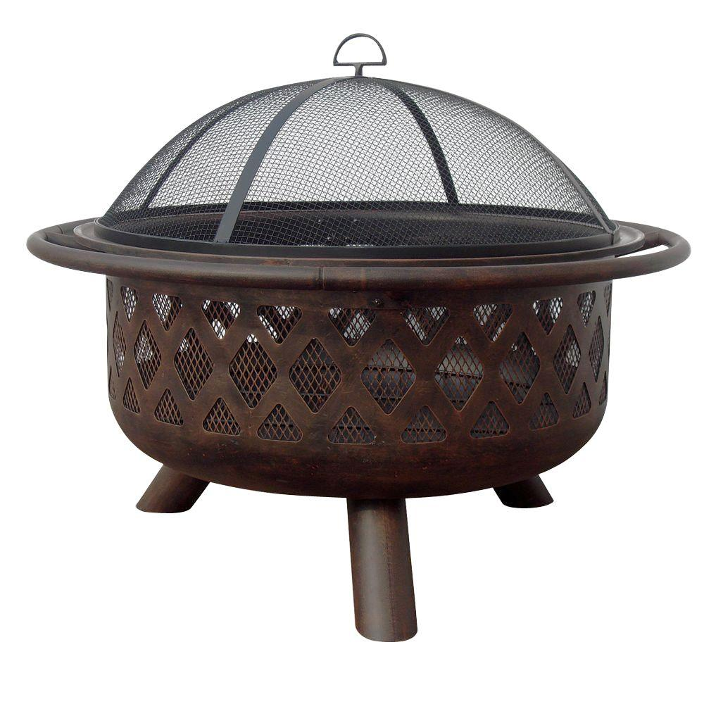 Endless Summer 36 in. Lattice Fire Pit in Bronze Finish