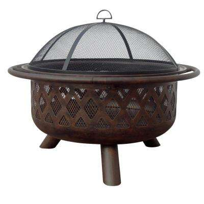 36 in. Lattice Fire Pit in Bronze Finish