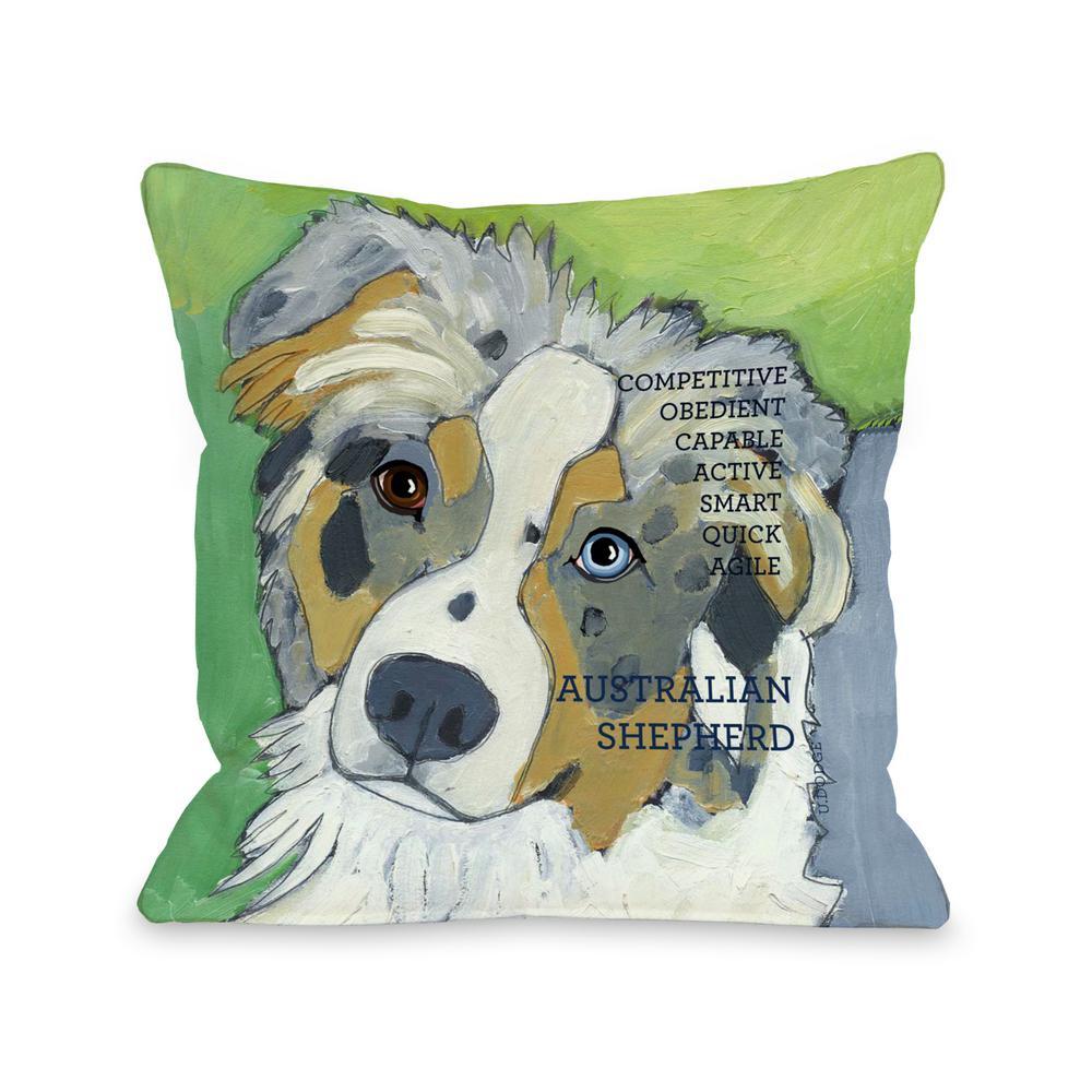 Australian Sheep Dog 1 16 in. x 16 in. Decorative Pillow