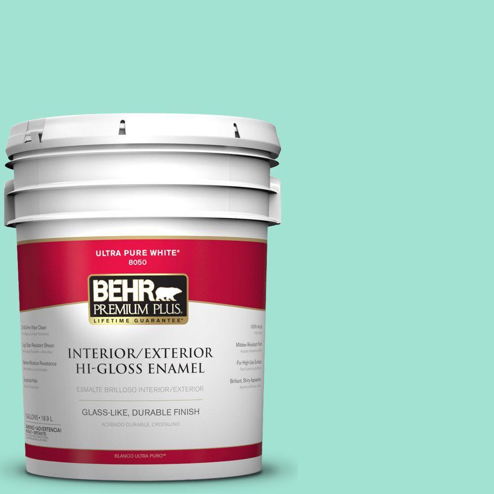 BEHR Premium Plus 5-gal. #P430-2 Aqua Wish Hi-Gloss Enamel Interior/Exterior Paint