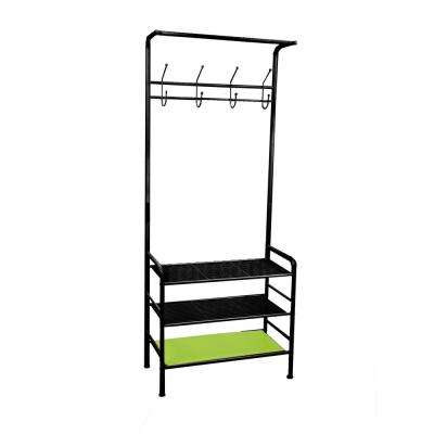 8-Hook Metal Coat and Shoe Rack Shelving Organizer in Black