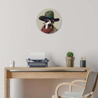 "16 in. Pets Rock ""Cowboy"" Glass Wall Clock"
