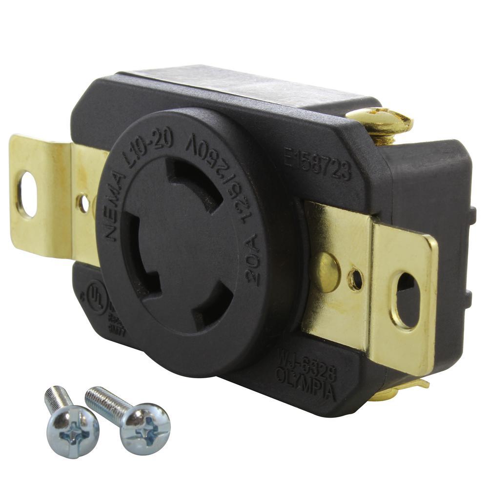 20 Amp 125-Volt/250-Volt Nema L10-20R Flush Mount Locking Industrial Grade Outlet