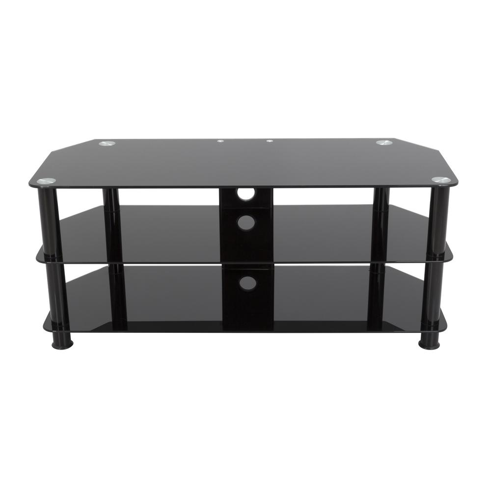 AVF Black Entertainement Center The SDC-BB family is a simple, attractive, and versatile series of A/V stands and tables, in multiple sizes. BB indicates that the stands have Black legs, and Black glass shelves. The high quality, easy to assemble stands blend with virtually any decor. The AVF SDC1140CMBB-A supports flat panel TVs up to 55 in. The Black tempered glass and durable Black legs modernize any space while the angled corners provide multiple room placement options including into corners to maximize space and viewing angles. Middle and bottom shelves are perfect for AV components such as Digital Receivers, DVRs, Blu-ray, Gaming Consoles, Speakers, Apple TV, Sonos devices, etc. Cable management through the center column delivers a tidy appearance.