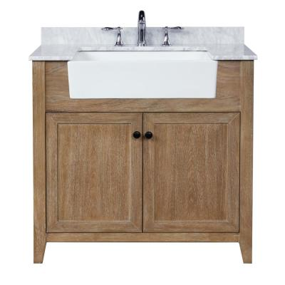 Sally 36 in. Single Bath Vanity in Ash Brown with Marble Vanity Top in Carrara White with Farmhouse Basin