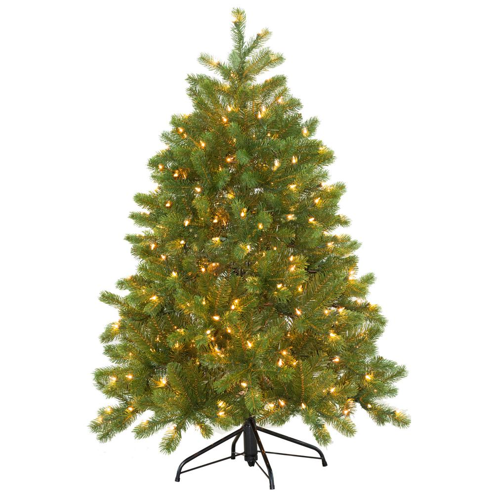 Douglas Fir Christmas Tree.Home Accents Holiday 4 1 2 Ft Feel Real Downswept Douglas Fir Hinged Artificial Christmas Tree With 300 Clear Lights