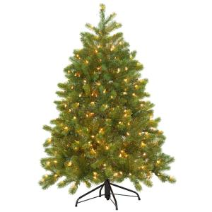 4-1/2 ft. FEEL-REAL Downswept Douglas Fir Hinged Artificial Christmas Tree with 300 Clear Lights