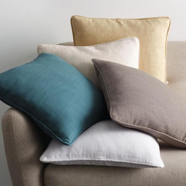 Concord Cotton Twill Ivory Solid 18 in. x 18 in. Throw Pillow Cover