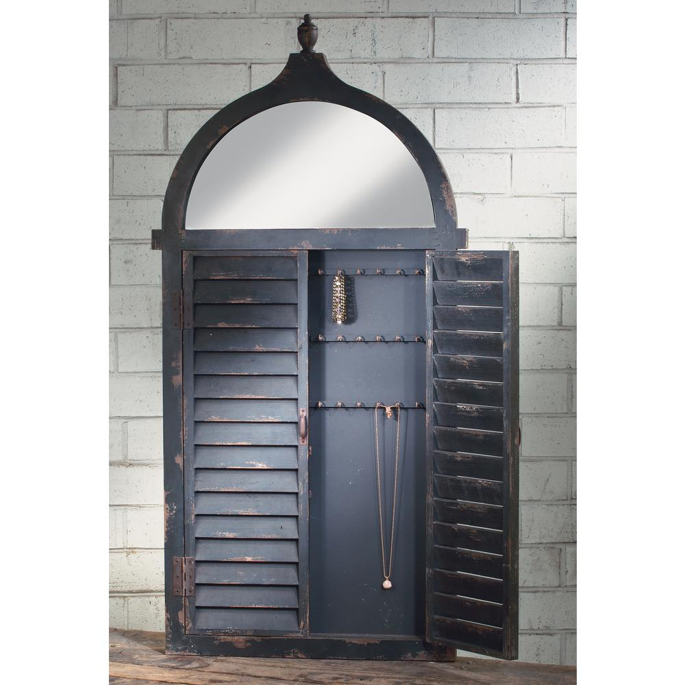 Black Wall Hanging Jewelry Cabinet With Hooks