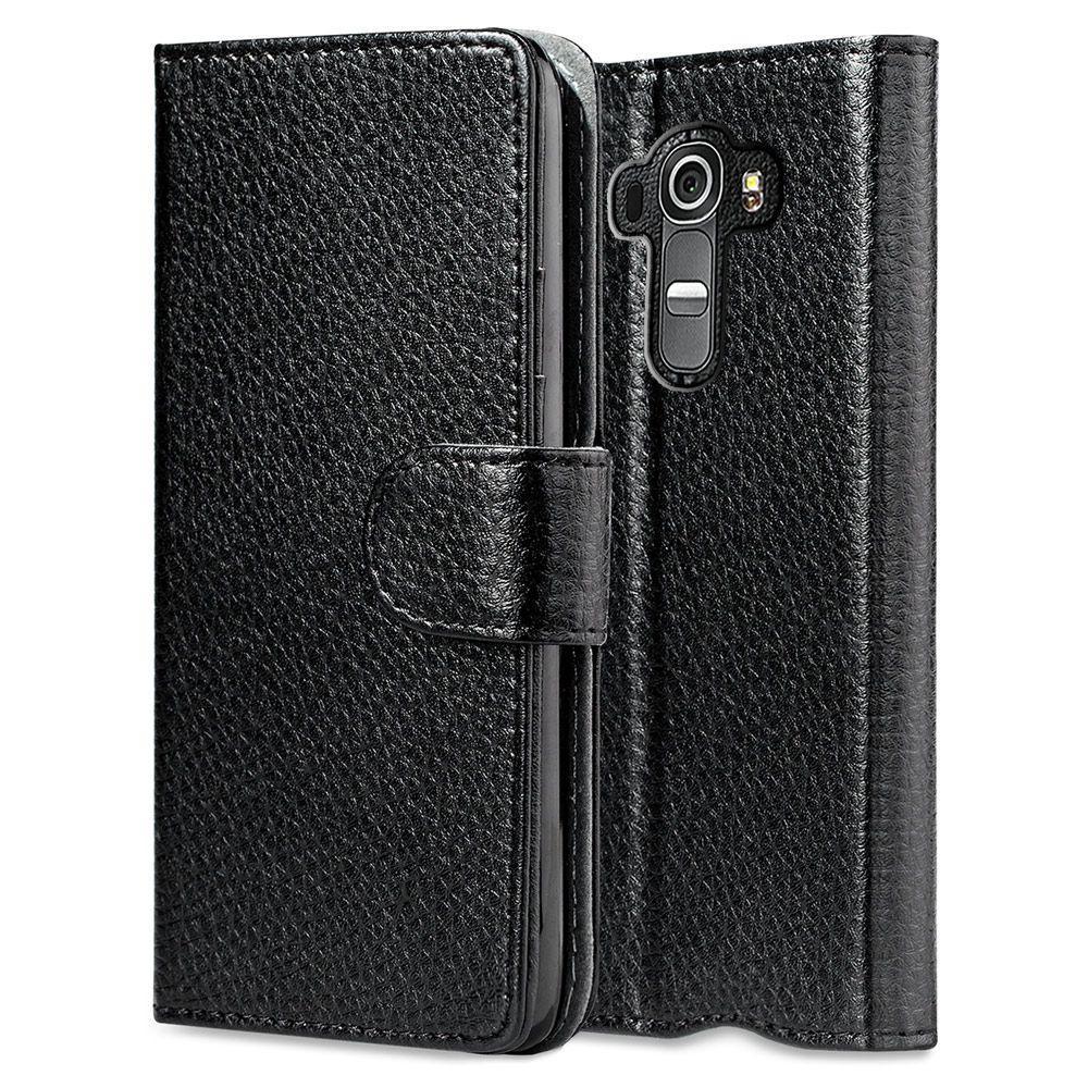 the best attitude 8a23c da253 i-Blason Leather Book Wallet Case for LG G4 Case, Black