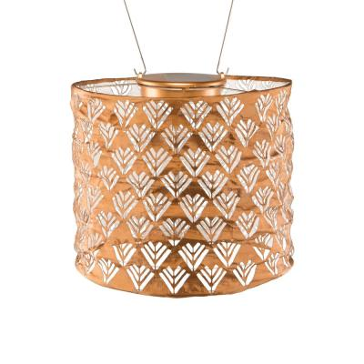 Soji Stella Drum 6.5 in. x 8 in. Copper Integrated LED Hanging Outdoor Tyvek UV Solar Lantern