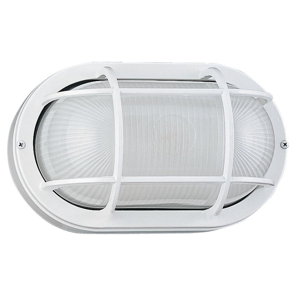 Sea Gull Lighting Riverside 1-Light White Outdoor Wall/Ceiling Fixture