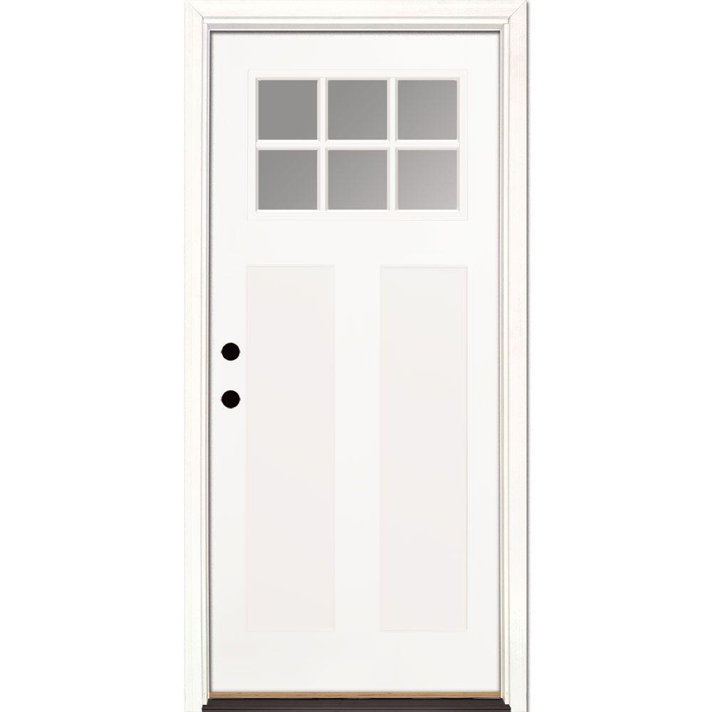 Feather River Doors 37.5 in. x 81.625 in. 6 Lite Clear Craftsman Unfinished Smooth Right-Hand Inswing Fiberglass Prehung Front Door