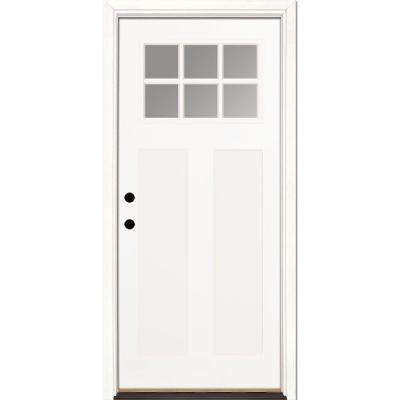 37.5 in. x 81.625 in. 6 Lite Clear Craftsman Unfinished Smooth Right-Hand Inswing Fiberglass Prehung Front Door