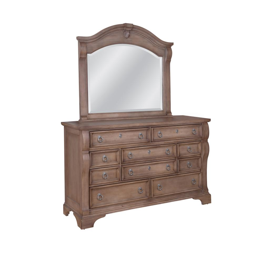 American Woodcrafters Drawer Pewter Silver Dresser Mirror