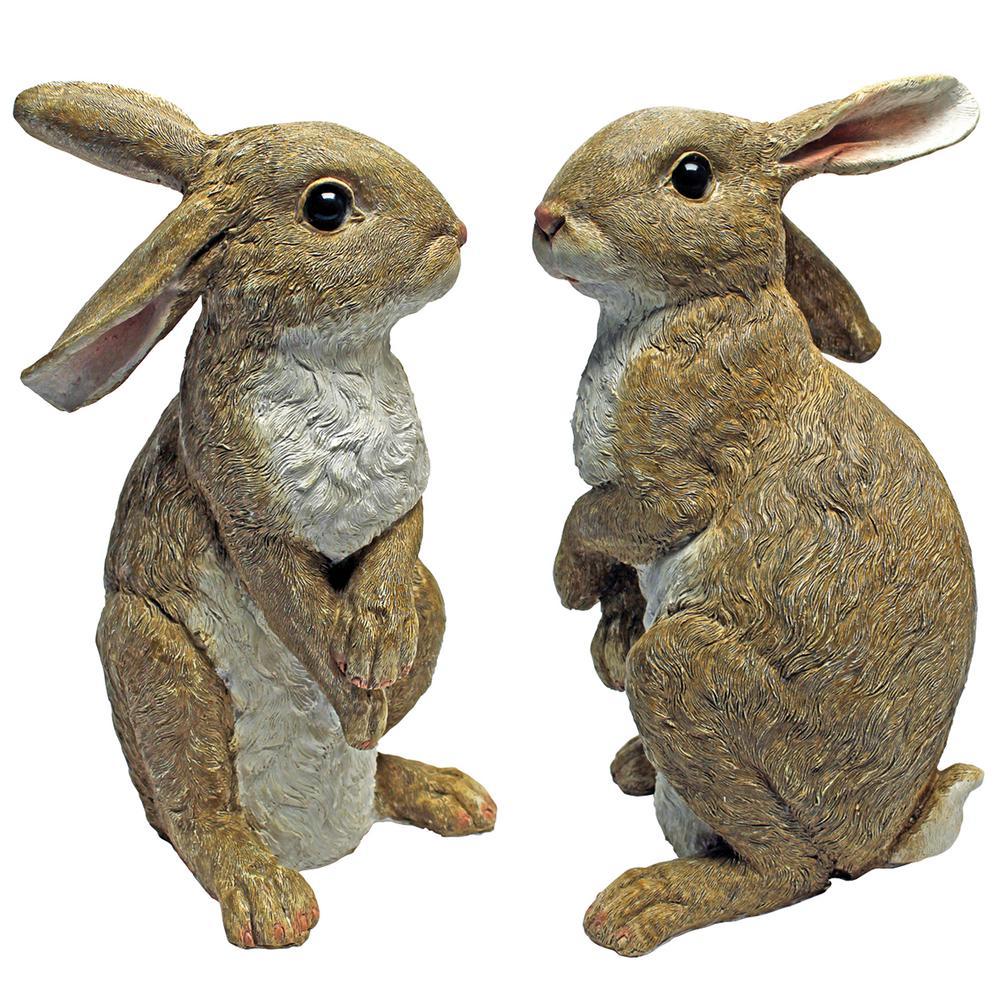 Hopper the Bunny Standing Garden Rabbit Statue Set (2-Piece)