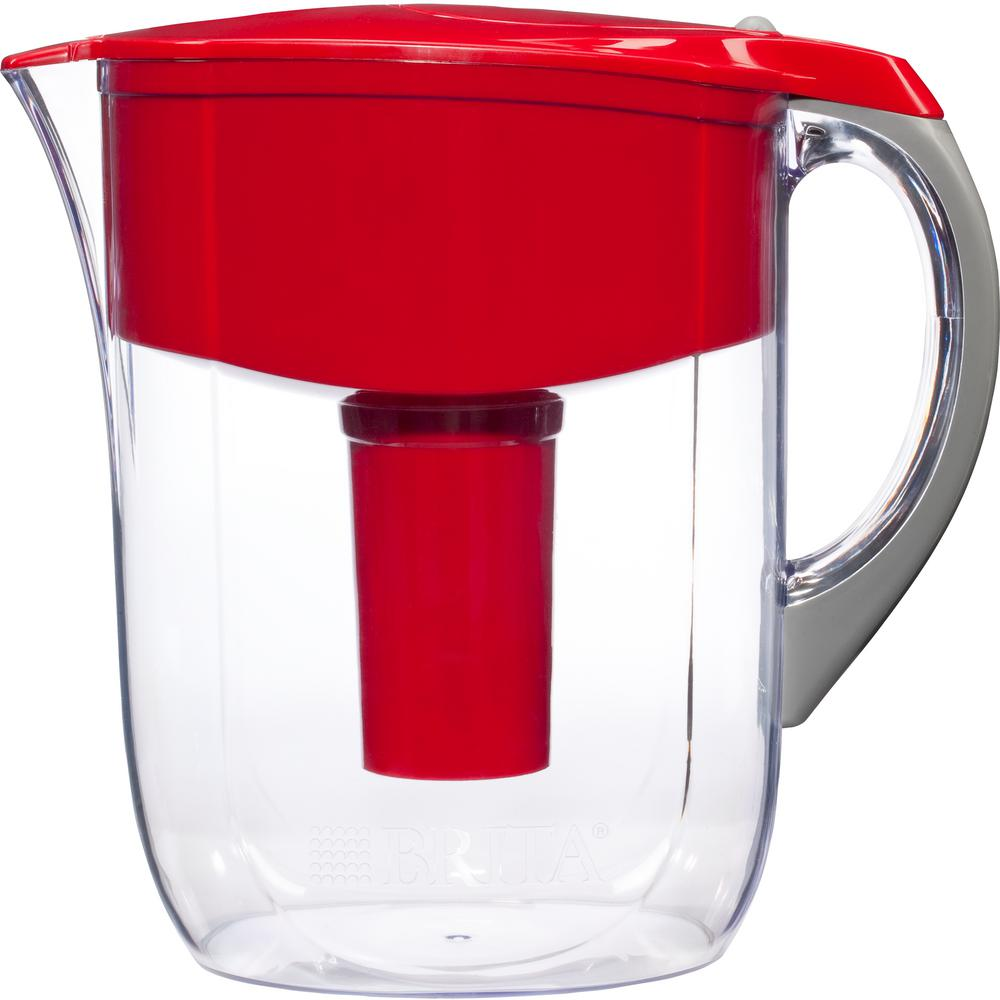 10-Cup Filtered Water Pitcher in Red