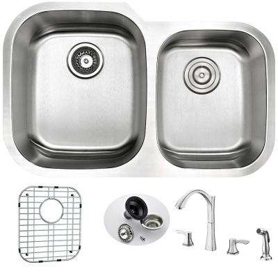 MOORE Undermount Stainless Steel 32 in. Double Bowl Kitchen Sink and Faucet Set with Soave Faucet in Brushed Nickel