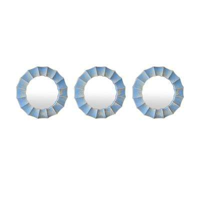 10 in. Three Hands Set Of Three Blue Wall Mirror Decorations