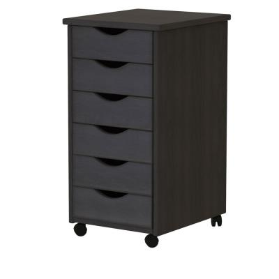 Black 6-Drawer Roll Cart