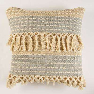 Handwoven two tone fringe taupe spa Pillow