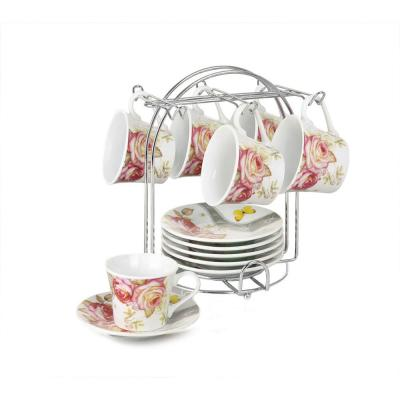 Espresso Cups On Metal Stand-Pink Floral (Set of 6)