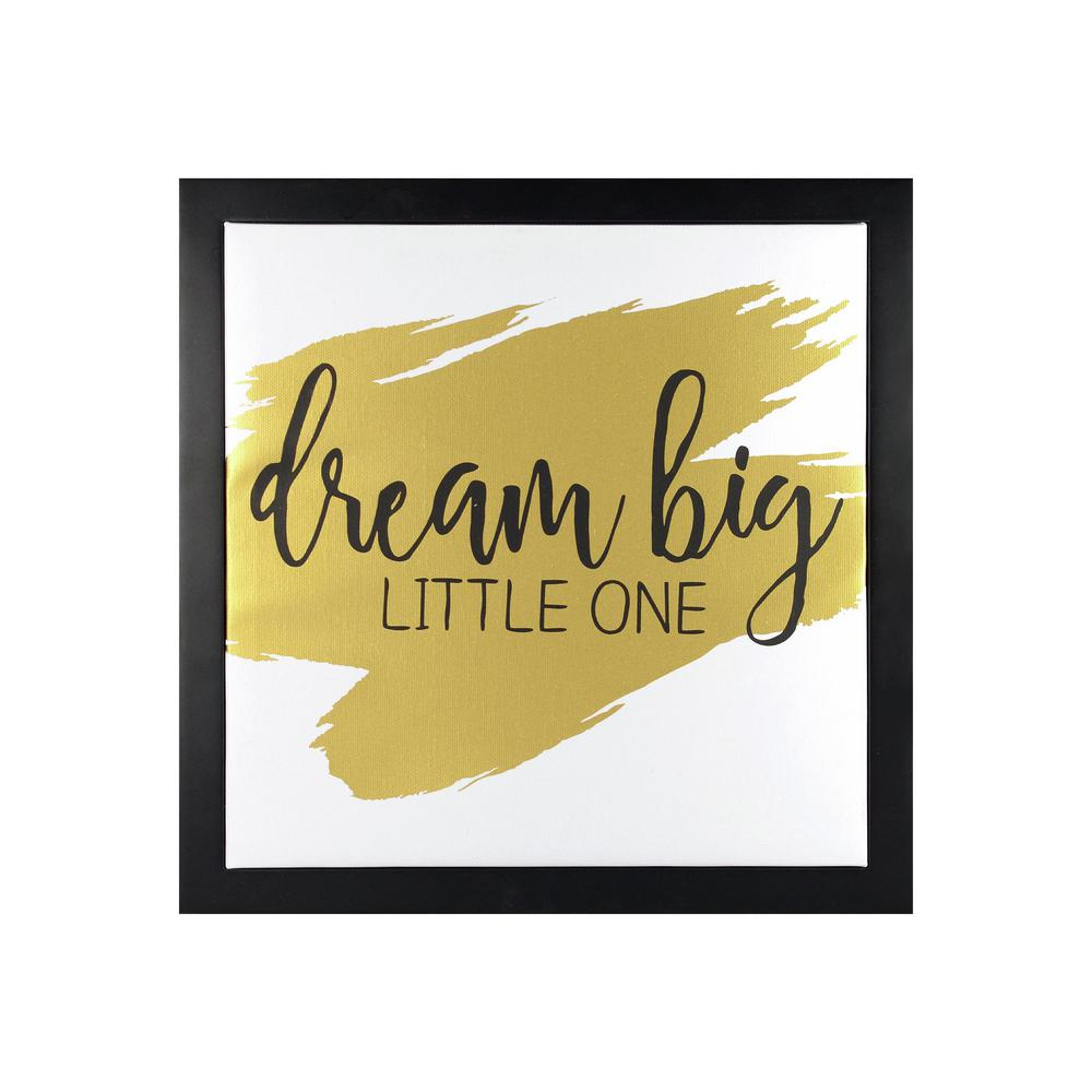 Linden Ave 12 in. x 12 in. Dream Big Little 1-Gold 1-Piece Framed ...