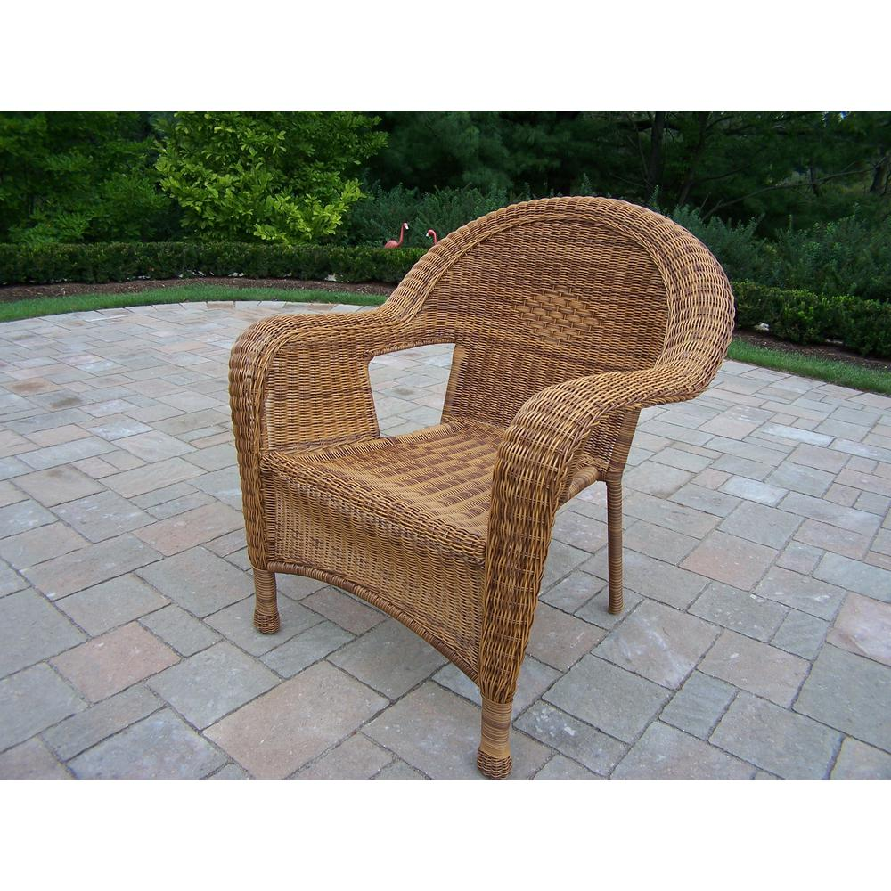 Natural Wicker Outdoor Dining Chair