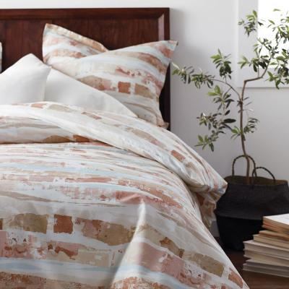 Sky Geometric Organic Cotton Percale Duvet Cover
