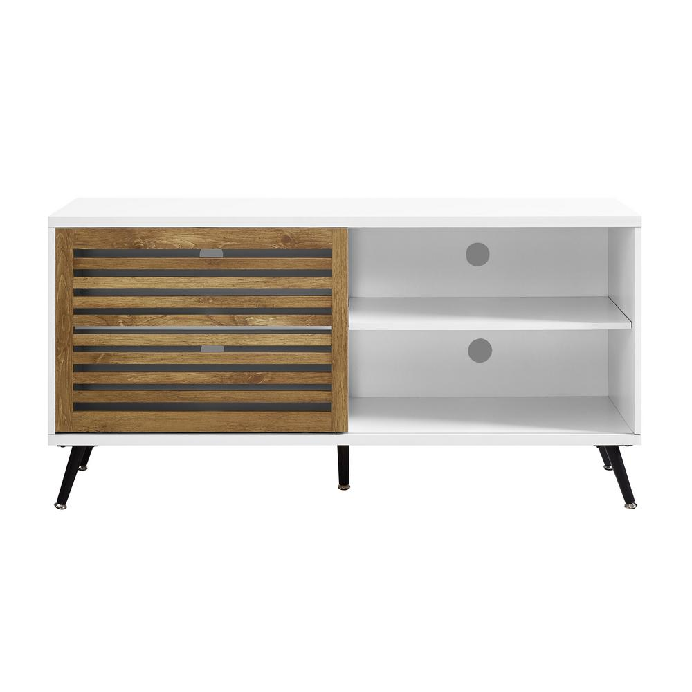 sliding door tv stand 52 in. White and Barnwood Sliding Door TV Console Media Stand  sliding door tv stand