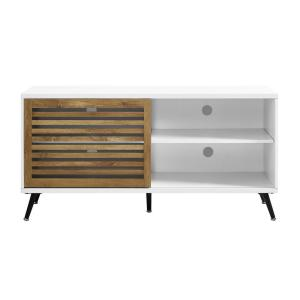 ad3fc4bc55a Baxton Studio Armani White and Medium Brown Wood Finished Wood TV ...