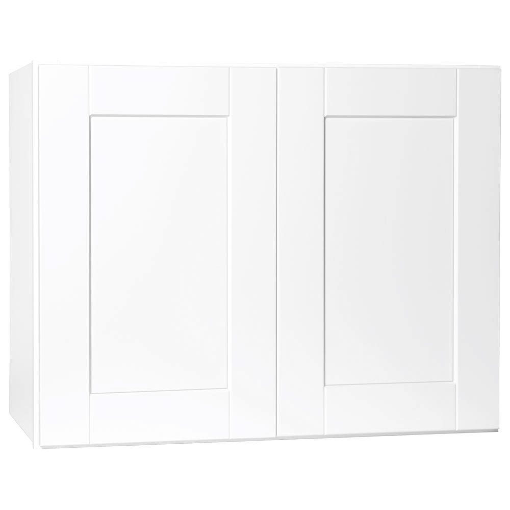 Shaker Assembled 30x23.5x15 in. Wall Bridge Kitchen Cabinet in Satin White