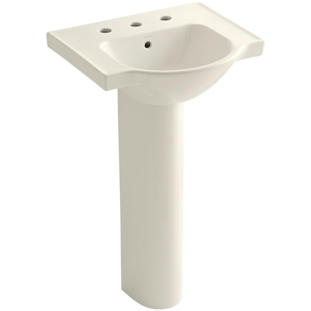 KOHLER Veer Vitreous China Pedestal Combo Bathroom Sink in Biscuit with Overflow Drain