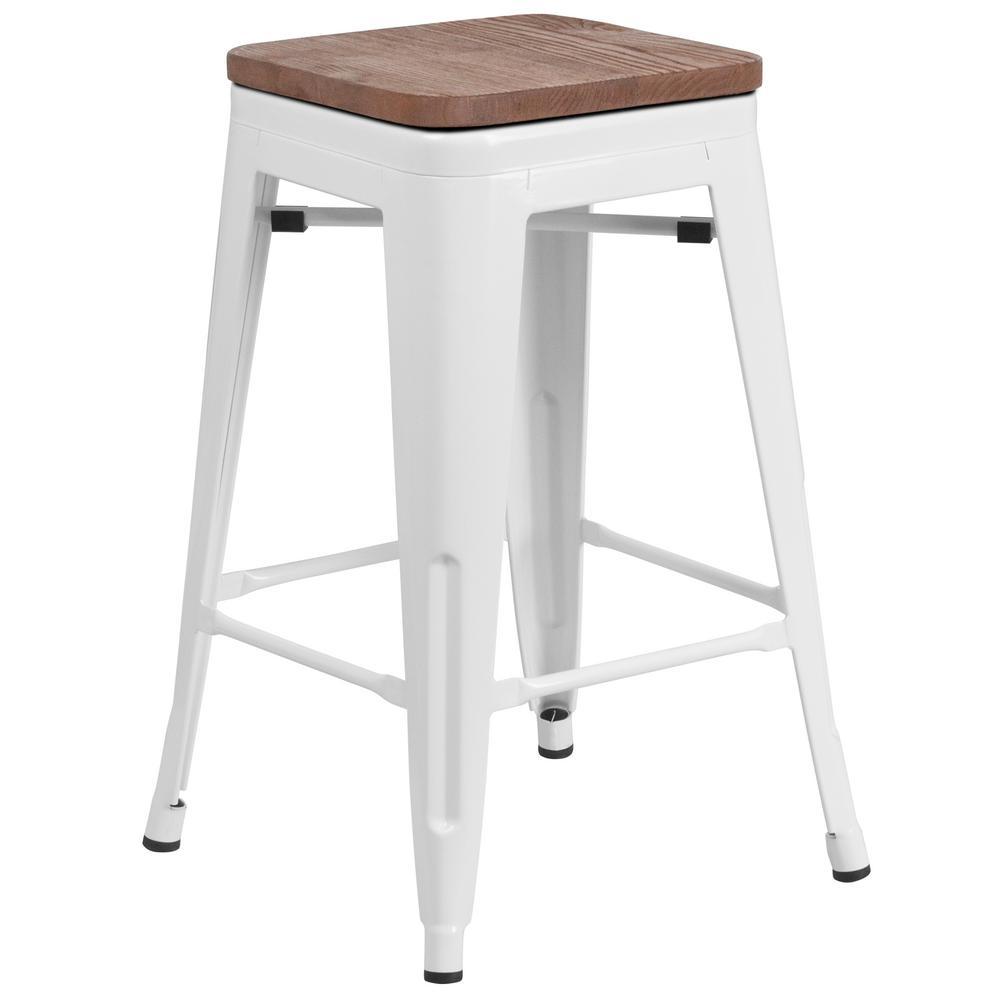 Flash Furniture White Bar Stool CGA-CH-249913-WH-HD