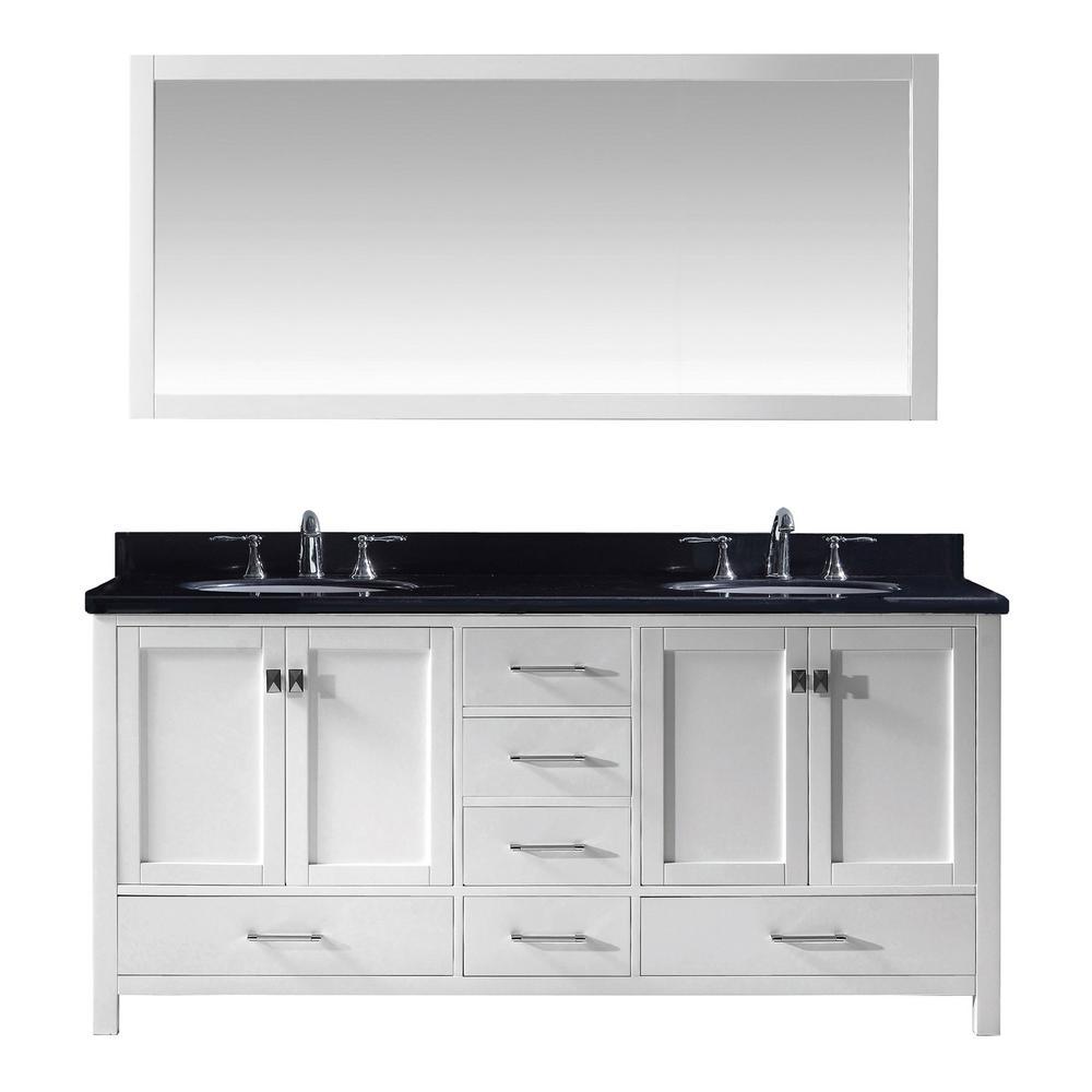 Caroline Avenue 72 in. W x 22 in. D Vanity in White with Granite Vanity Top in Black with White Basin and Mirror